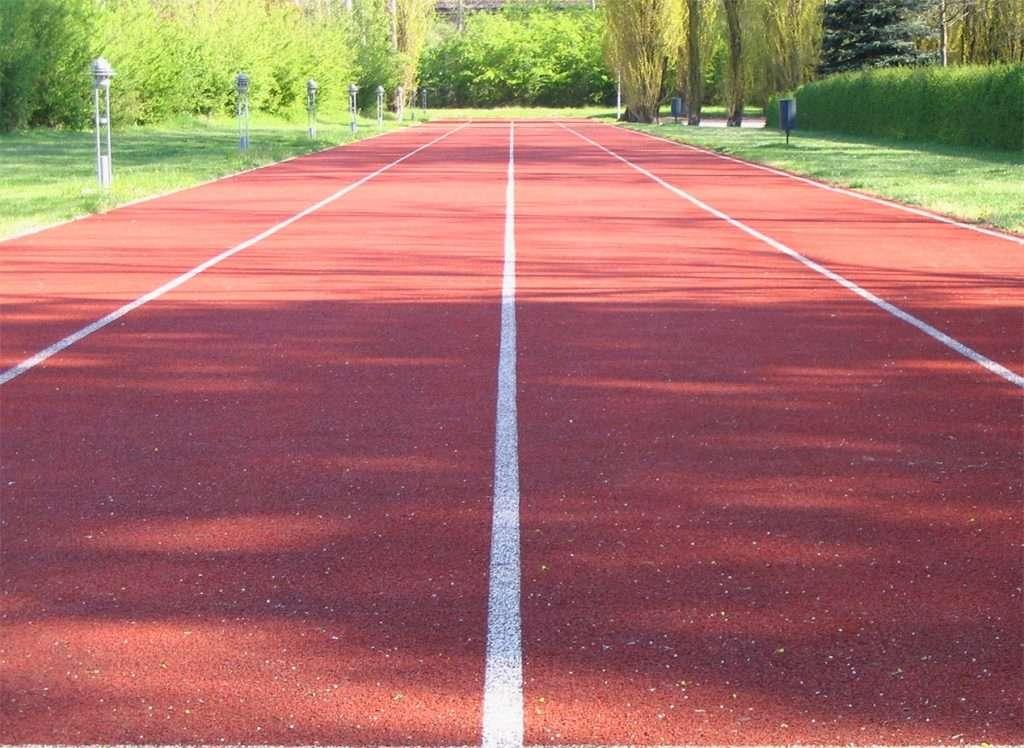 A red, tartan running track