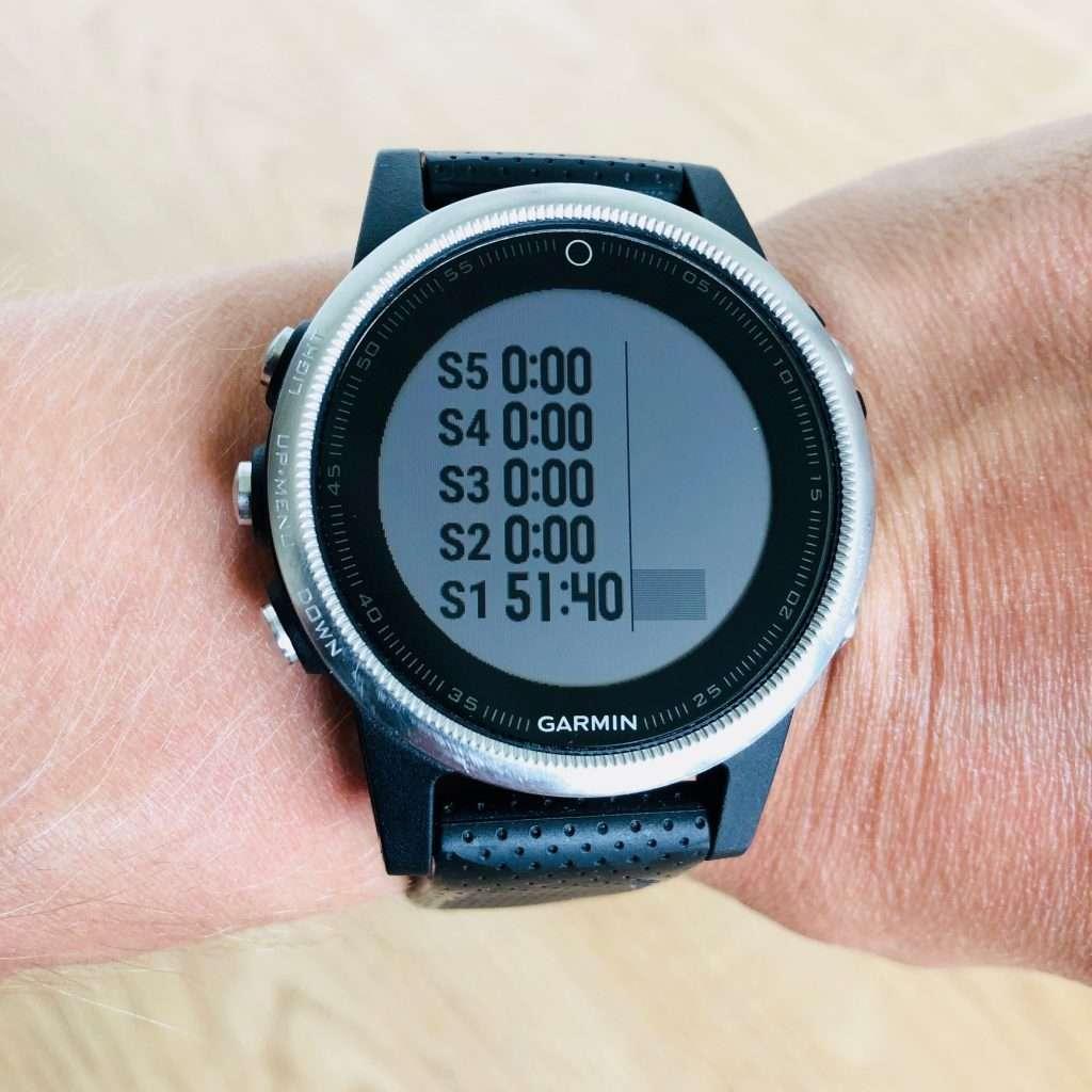 Sport watch showing heart rate zones
