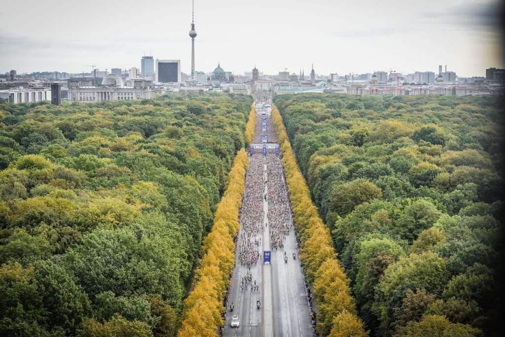 Berling Marathon 2019 start area in Tiergarten.