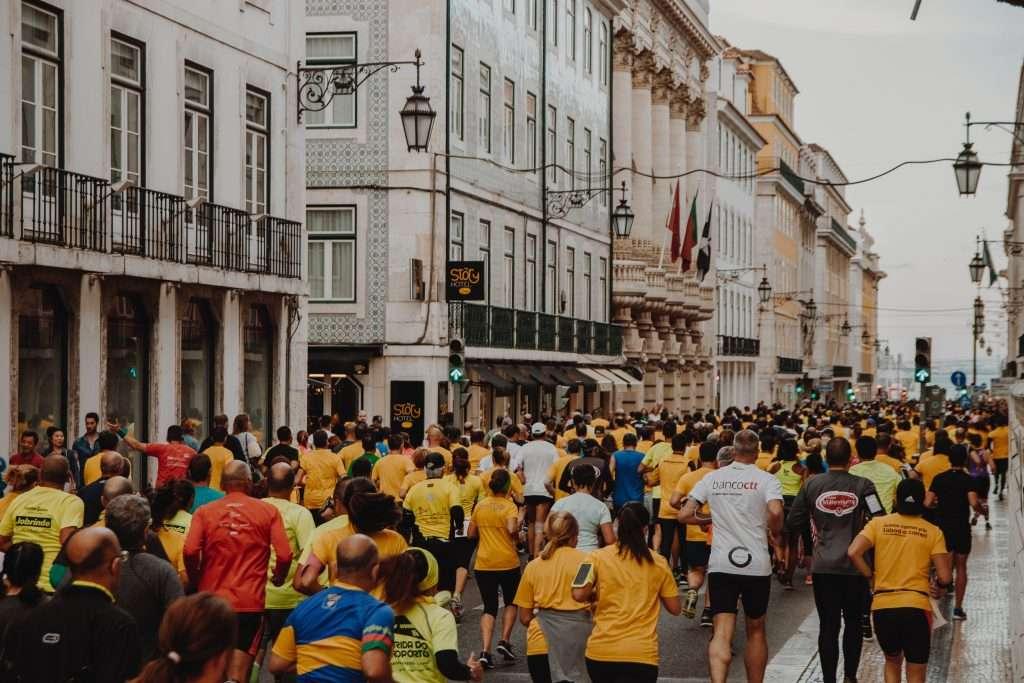 Marathon runners in street.