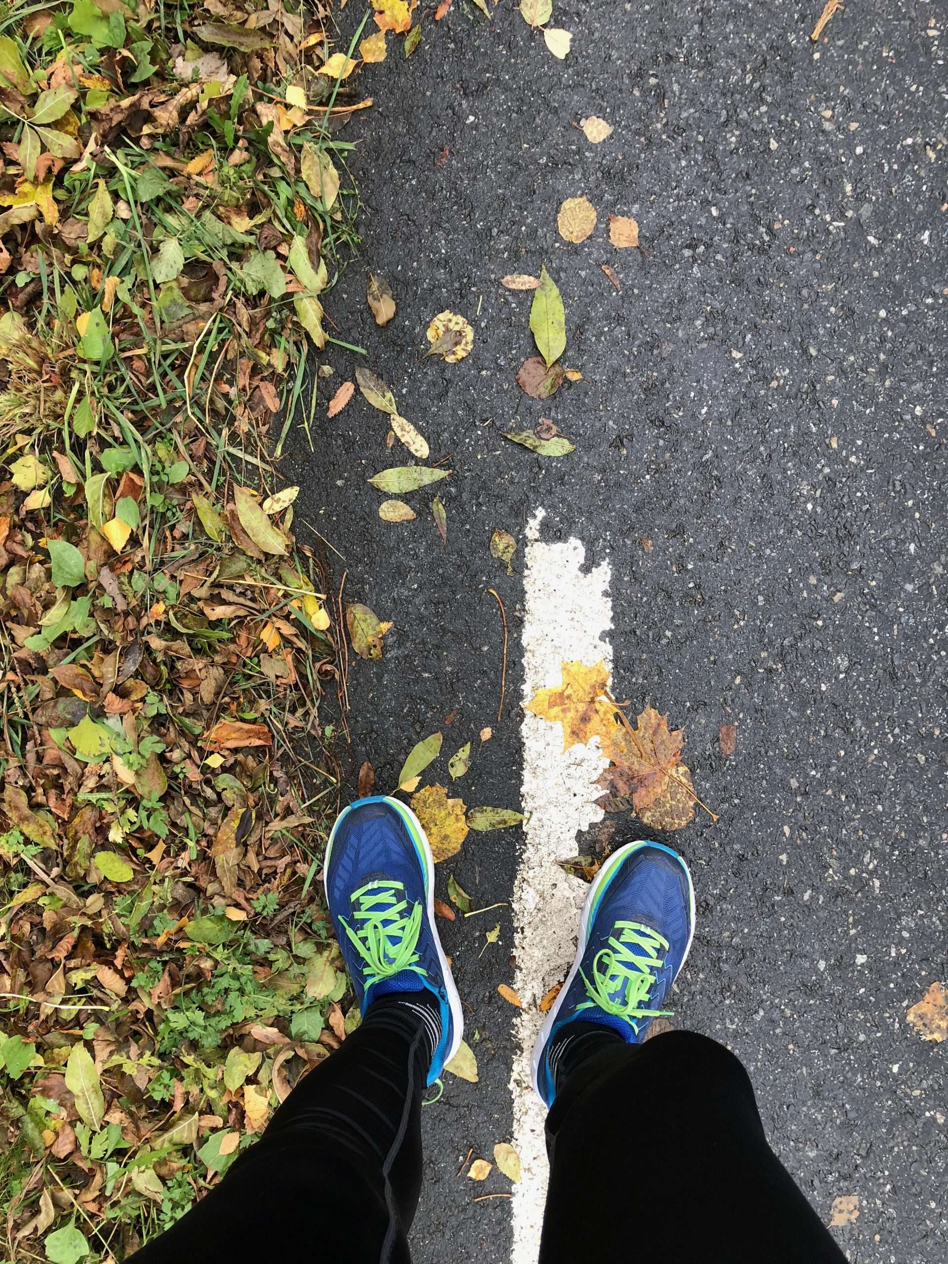 Running shoes and leaves