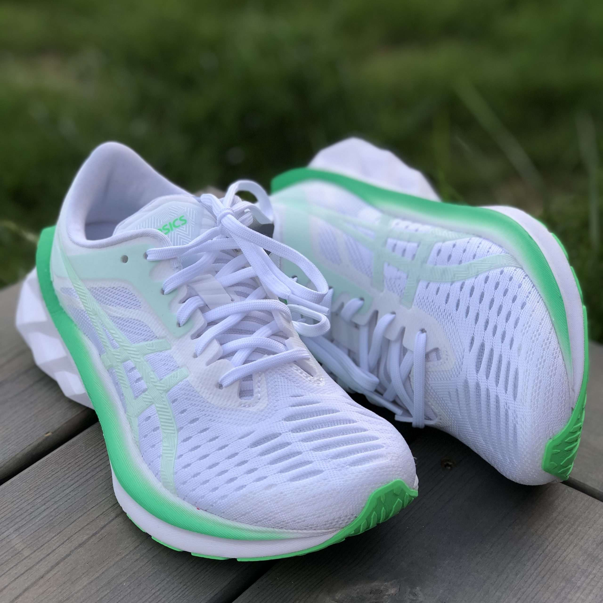 Asics Novablast Womens White and Mint Green