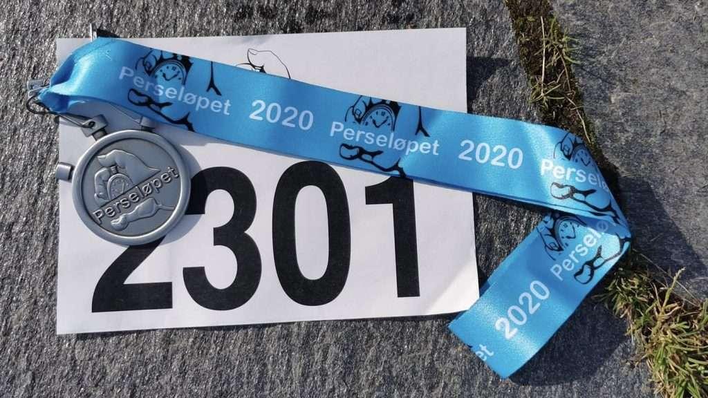 Perseløpet Maraton bib and finisher medal.