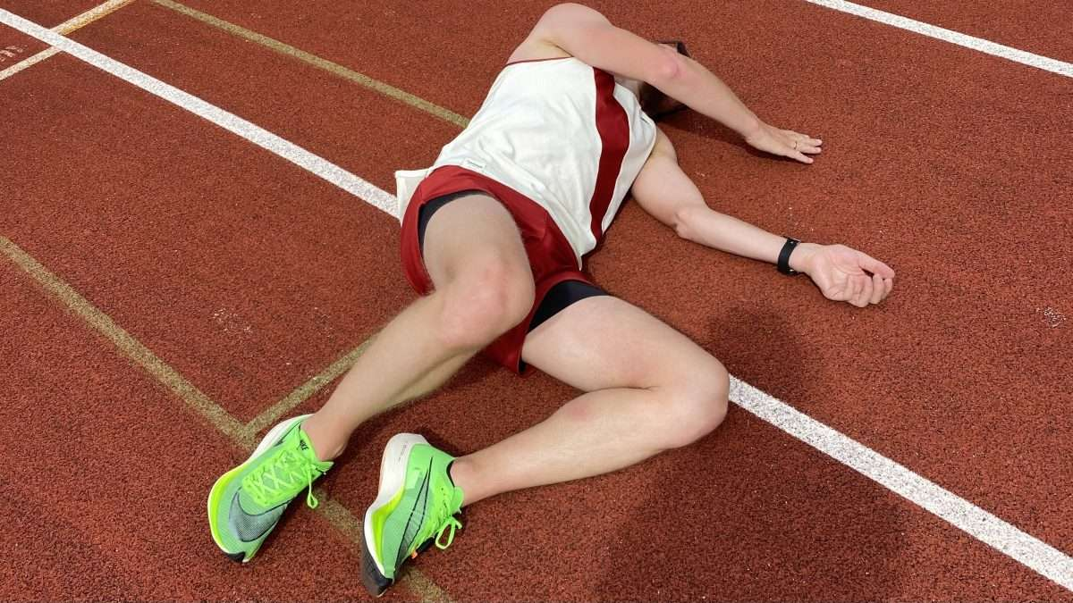 Exhausted runner on a track